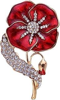 AILUOR Broche de Esmalte Amapola Broche de Solapa para Que no olvidemos Broches de Flor roja de Cristal Dorado Recuerdo de...