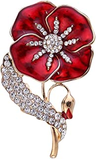 AILUOR Enamel Poppy Brooch Lapel Badge Pin, Lest We Forget Gold Crystal Red Flower Brooches Veterans Memorial Day Remembrance Sunday Unisex