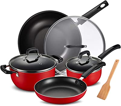 Wok Nonstick Pots And Pans Set, 4 Piece Nonstick Wok Cookware Set Saucepans with Glass Lids Oven Safe, Dishwasher Safe, Glitter Dark Red