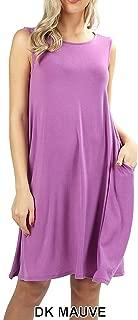 UNU Style Women's Sleeveless Pockets Casual Swing Flared Dresses Premium Fabrics