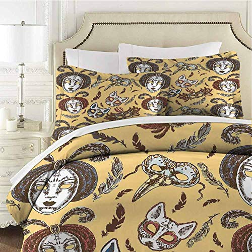 Masquerade Bedding 3-Piece California King Bed Sheets Set,Bedding Set Full All Season Quilt Set Venetian Style Paper Mache Face Ultra Soft and Breathable Comforter Cover