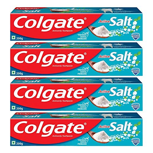 Colgate Active Salt Toothpaste, Germ Fighting Toothpaste for Healthy Gums and Teeth, 800g, 200g X 4