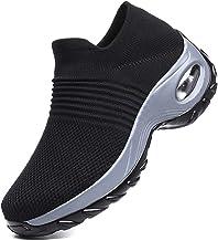 Metyere Chaussures de marche pour femme en maille respirante confortables à plateforme compensée, polyuréthane, Noir/gris,...