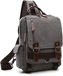 Bageek Mens Chest Pack Canvas Casual Shoulder Bag Outdoor Sports Sling Bag (Grey)