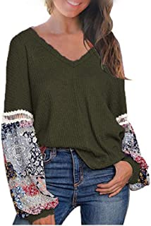 GUOCAI Womens Patchwork Print Waffle Tops Long Sleeve V Neck Loose Blouse T Shirts