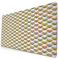 KIMDFACE 大型 マウスパッド LGBTレインボーハーツバレンタイン水彩スプラッシュパターン 個性的 おしゃれ 柔軟 かわいい ゲーミングマウスパッド PC ノートパソコン オフィス用 デスクマット 滑り止め 特大 マウスマット