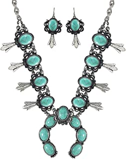 Turquoise Vintage Squash Blossom Metal Statement Necklace/w Earrings No.97