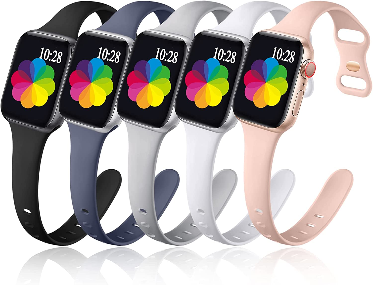 Muranne 5 Pack Bands Compatible with Apple Watch 41mm 40mm 38mm 42mm 44mm 45mm iWatch SE & Series7 6 5 4 3 2 1 for Women Men, Cute Slim Narrow Water Resistant Silicone Sport Replacement Wrist Strap