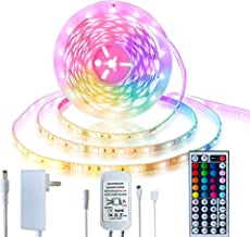 Led Strip Lighting 5M 16.4 Ft 5050 RGB 150LEDs Flexible Color Changing Full Kit with 44 Keys IR Remote Controller Control ...