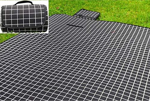 X-Labor Waschbar Baumwolle Leinen Picknick Decke 200x150 cm XXL mit wasserdichter PEVA Unterseite Wärmeisoliert Stranddecke Campingdecke Schwarz Karo