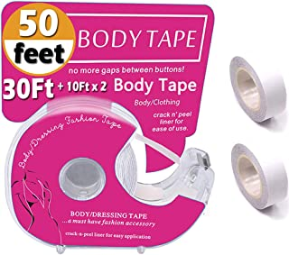 Fashion Boob Body Tape,Clear Fabric Strong Double Sided Tape For Clothes/Dress, 50 Ft.