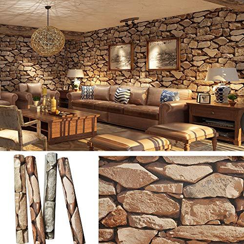 3D Papier Peint Pierre Mode Rétro Matériau Papier Peint Briques PVC 10x0.53m Brique Parement Naturelle Décorer le Salon, la Chambre, la Cuisine et le Couloir de Votre Maison,Marrón