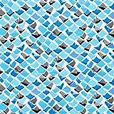 Hemdenstoff Viskose Mosaiksteinchen – türkis/blau —