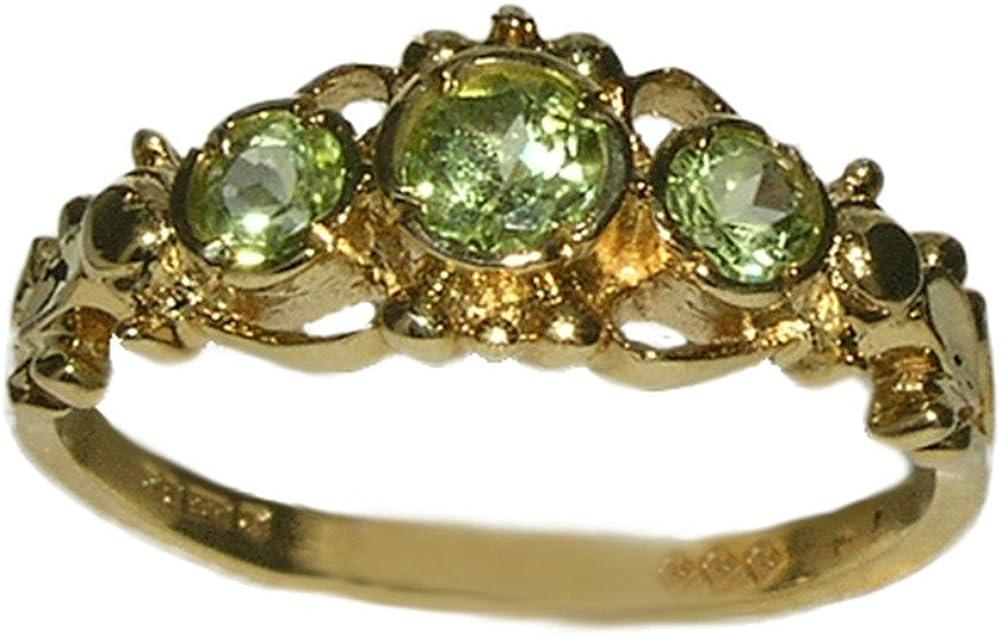 LetsBuyGold 14k Yellow Gold Real Genuine Peridot Womens Band Ring