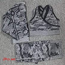 YJTZGG-H Yoga Kleidung 3 Stücke Camo Yoga Set Nahtlose Leggings Sport BH + Langarm Crop Top + Frauen Laufen Gym Leggings Hohe Taille Fitness Sport Anzug