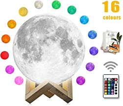 Moon Lamp, mono living,16 Colors 3D Print Moon Light (5.9inch) LED with Stand, Remote Control, Baby Night Light Christmas Birthday Gifts Family Couple Daughter Mother Teen Girl Boyfriend Girlfriend