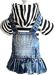 PETCARE Pet Dog Clothes Denim Plaid Strip Skirt Cute Puppy Dress Hoodies for Small Medium Dogs Cats Girls Spring Summer Au...