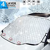 YHmall Car Windshield Snow Cover, Windshield Snow Ice Cover with Magnetic Edges, Thicker 4 Layers Extra Large Windshield Winter Protection for Most Cars and SUV