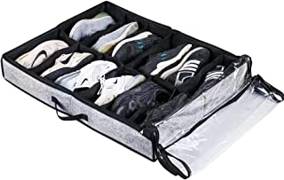 ALFRESCODE Under Bed Shoe Storage Organizer 24 Pairs (2 Pack)   Premium Container with Strengthened Zipper Divider Handle   Ultimate Storage Solution Collapsible Foldable Linen Fabric 30