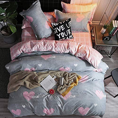 CCoutueChen Girls Grey Heart-Shaped Duvet Cover Queen Full Set Reversible Pink and White Checked Plaid Comforter Cover Soft Microfiber 3 Pieces Bedding Set for Kids Teens Women