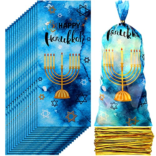 100 Pieces Hannukah Gift Bag Blue Tie-dye Paper Bags Menorah Goodie Bags Candy Treat Bags Party Favor Bag with 150 Gold Ribbons for Kids Hanukkah Decorations Party Supplies Favors