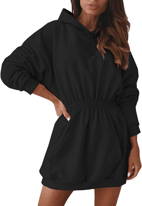 Women Hoodies Sweatshirt Dress Batwing Long Sleeve Tunic Pullover with Pockets