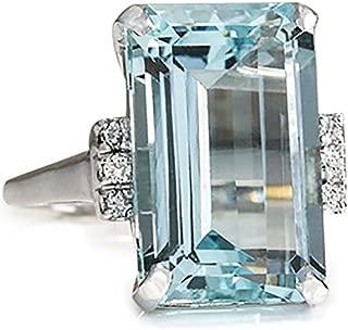 Goddesslili Classic Sky Blue Aquamarine Rings for Women Girlfriend Vintage Wedding Engagement...