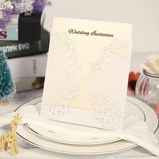 10X Cut Elegant Invitation Cards Set for Wedding Bridal Shower Birthday Beige Envelope Hollow Card Holder Inner Sheet Deli...