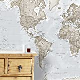 Maps International Mural de Mapa del Mundo Gigante – Decoración de Pared – 232 cm (Ancho) x 158 cm (Alto), Crema