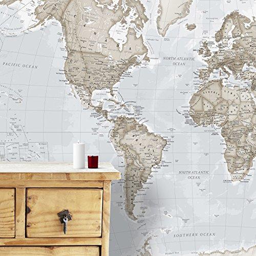 Riesiges Wandbild Weltkarte, 232 x 158 cm neutral