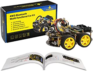 KEYESTUDIO 4WD Bluetooth Multi-Functional Smart Car Kit for Arduino Projects, Great Stem Education Toy for Boys and Girls