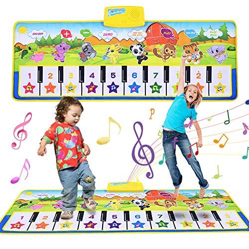 Faburo 100 x 36 cm Tappeto Musicale para Bambini, Musicale Bambini Piano Mat Tastiera Danza Stuoia Strumento Musicale Giocattoli Educativi Verde (Senza Batteria)