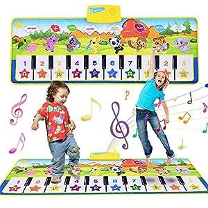 Faburo Alfombra Musical para niños, Alfombra de Piano de Teclado de Gimnasio Colchonetas Alfombra Animal para el Regalo del Bebé Verde (100 * 42cm)