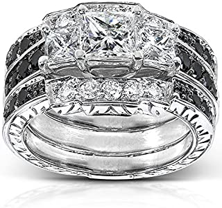 Princess Black and White Diamond Bridal Set 1 7/8 Carat (ctw) in 14k White Gold (3-Piece Set)