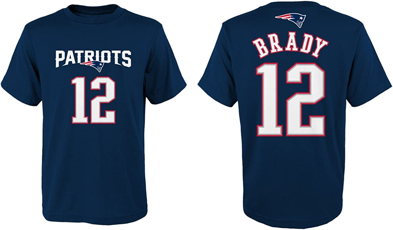 Outerstuff Tom Brady New England Patriots Youth Mainliner Jersey Name and Number T-Shirt