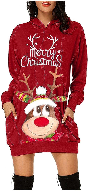 Christmas Hoodie Dresses for Women,Womens Merry Christmas Printing Long Sleeve Tunic Sweatshirt Dress Blouse Tops with Pocket