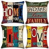 Soleebee Fundas de cojín de lino y algodón - Fundas de cojines para sofá, cama, decoración del hogar [juego de 4] [45 x 45 cm-Multicolor]