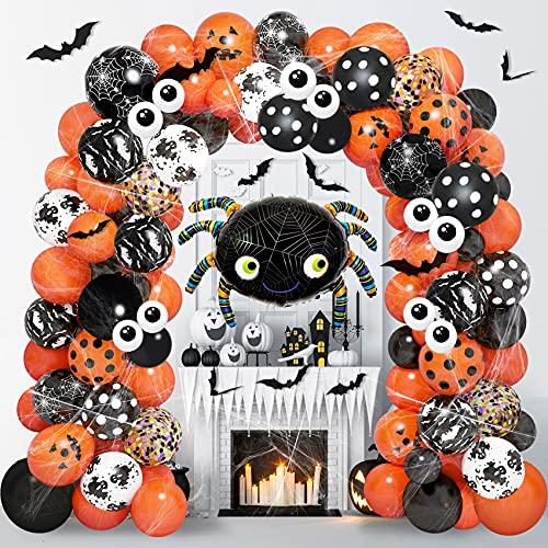 125PCS Halloween Balloon Garland Arch Kit, 35''Foil Spider Balloon Spider Web 12Pcs 3D Bats Eyeball Black Orange Confetti Balloons for Halloween Birthday Baby Shower Holiday Party Decorations Supplies