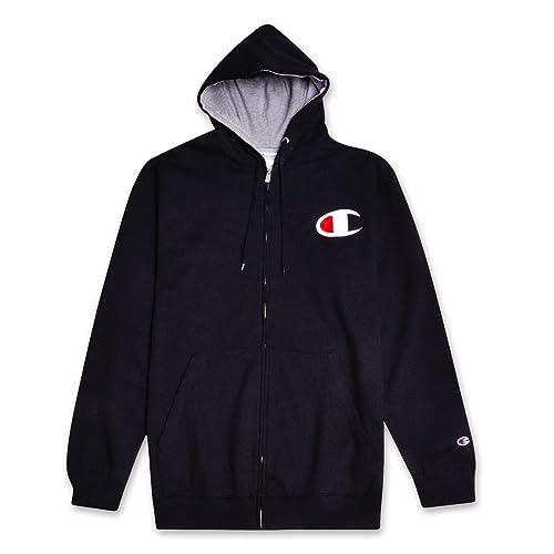 48a8fbeb2d01 Champion Mens Big Tall Zip Up Fleece Hoodie Sweatshirt C Logo