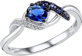 Lurie Jewelry Diamond Sapphire White Gold Ring - 0.024 Carat 14K White Gold Ring with White Diamond and 0.598 Carat Sapphire Gold Statement Ring