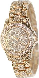 Smalody Round Luxury Women Watch Crystal Rhinestone Diamond Watches Stainless Steel Wristwatch with Japan Quartz Movement