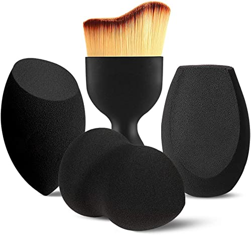 BEAKEY 3+1 Pcs Makeup Sponges with Kabuki Contour Brush, Beauty Sponge Blenders with 3 Shapes for Liquid Foundation, ...