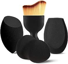 BEAKEY 3+1 Pcs Makeup Sponges with Kabuki Contour Brush, Beauty Sponge Blenders with 3 Shapes for Liquid Foundation, Cream and Powder (3 Sponges+ 1 Contour Brush)