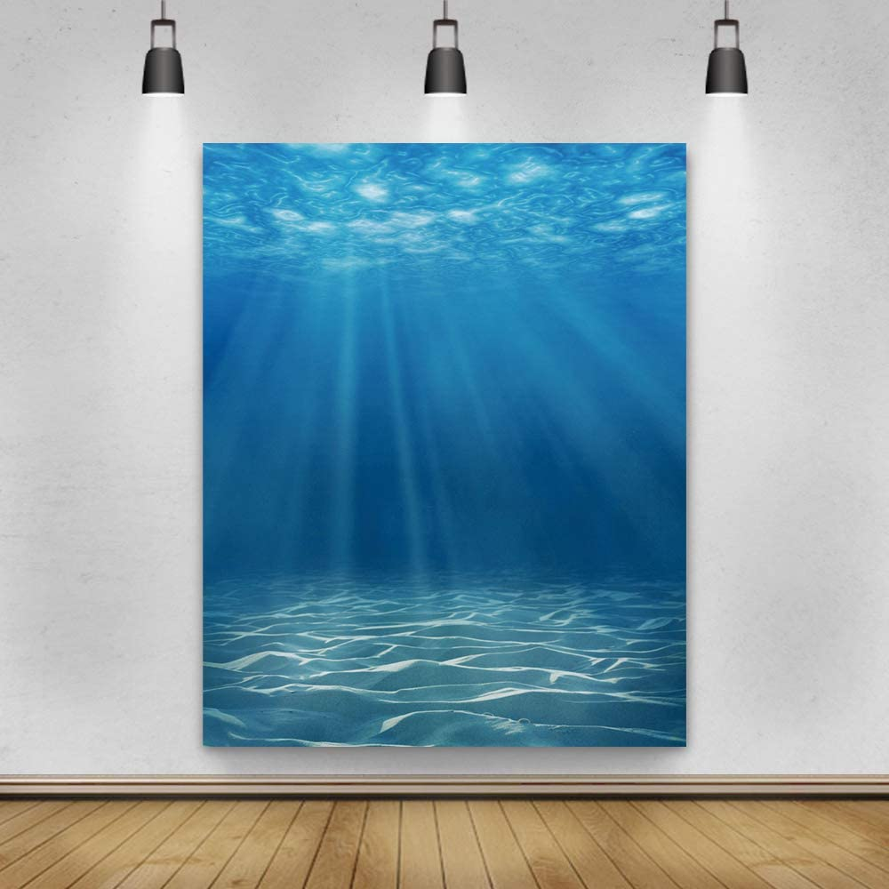 Laeacco Underwater World Background 5x7ft Photography Background Undersea Sunlight Deep Blue Water Sun Ray Backdrop Seabed Children Birthday Home Decoration Party Kid Boy Newborn Photo Studio Props