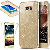 Coque Galaxy S7 Edge,Etui Galaxy S7 Edge,Intégral 360 Degres avant + arrière Full Body Protection Bling Brillant Glitter...