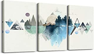 Canvas Prints Wall Art Abstract Mountain Landscape 3 Panels Painting Abstract Geometry..