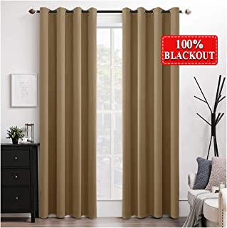 MIULEE 100% Blackout Curtains Thermal Insulated Solid Grommet Curtains/Drapes/Shades for Bedroom Living Room 2 Panels Khaki 52x90 Inch