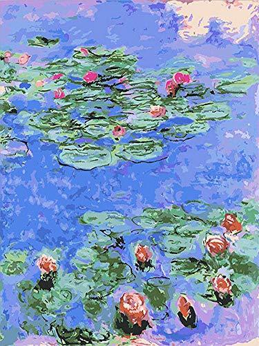 Zimal 5D Diamond Embroidery Monet Water Lilies Coloring Diamond Painting Cross Stitch Mosaic DIY