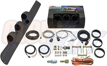 GlowShift Diesel Gauge Package for 1998-2002 Dodge Ram Cummins 2500 3500 - Tinted 7 Color 60 PSI Boost, 1500 Pyrometer EGT & 30 PSI Fuel Pressure Gauges - Gray Triple Pillar Pod w Speaker Cutout