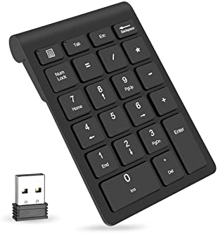 Wireless Number Pads, Numeric Keypad 22 Keys Portable 2.4 GHz Financial Accounting Number Keyboard Extensions for Lap...